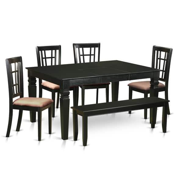 Rubberwood Black Kitchen Nook Dining Set 6 Piece