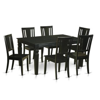 WEDU7-BLK Black Rubberwood Kitchen Dinette Table and 6 Chairs