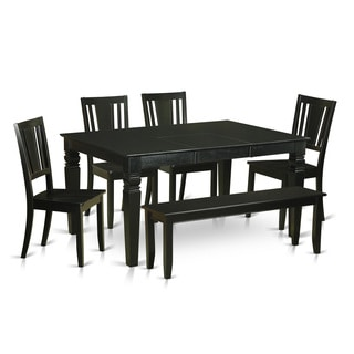 WEDU6D-BLK Black Rubberwood Kitchen Table with 4 Dinette Chairs and Bench (Pack of 6)