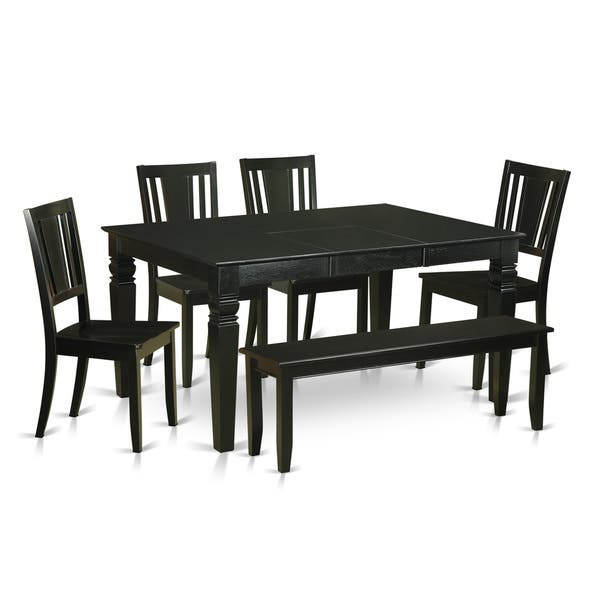 WEDU6D-BLK Black Rubberwood Kitchen Table with 4 Dinette Chairs and Dining  Bench (Pack of 6)