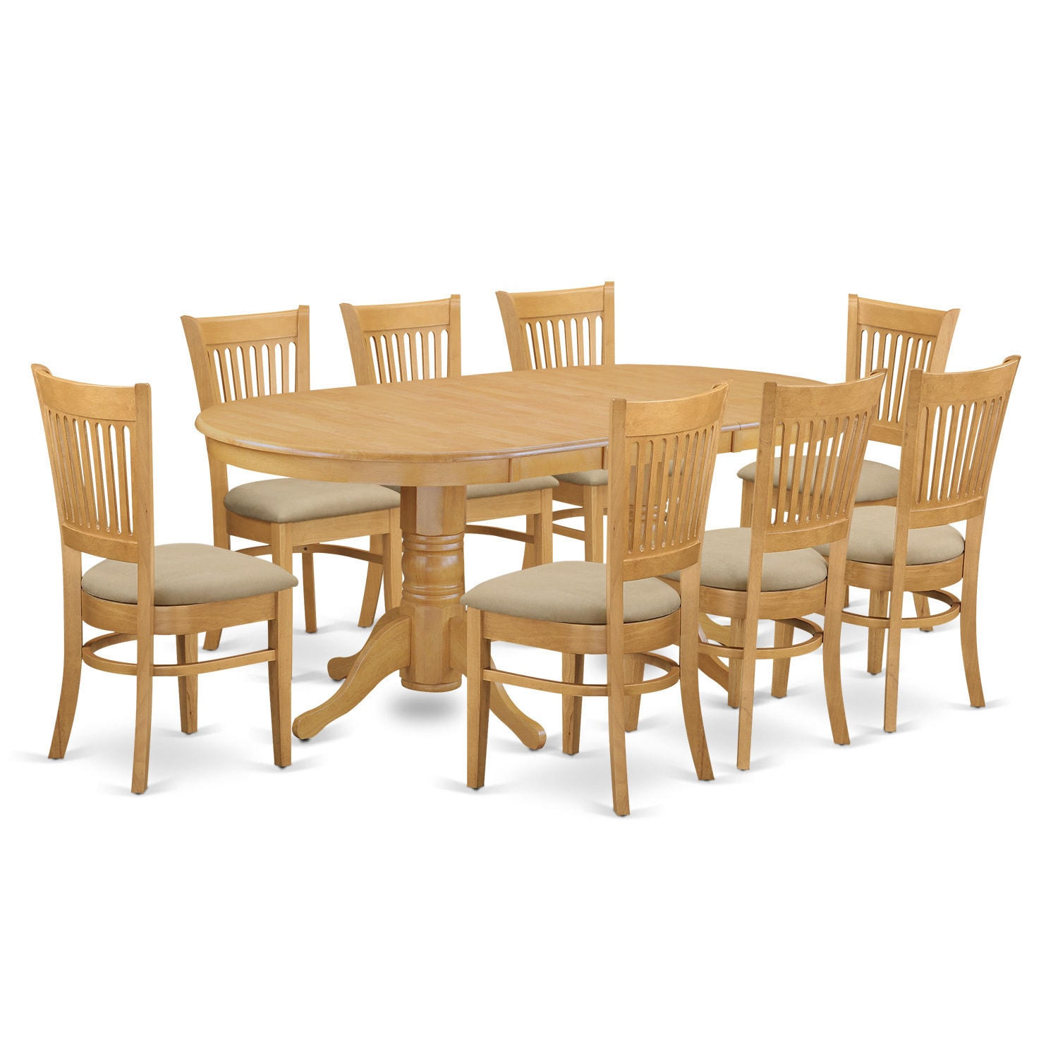 VANC9 Oak (Brown) Finish Rubberwood Dining Table And 8 Ch...