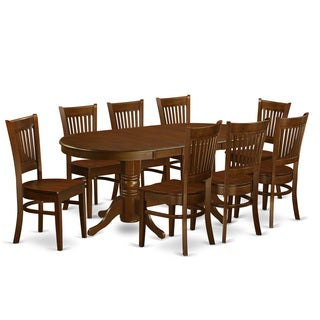VANC9 Oak Finish Rubberwood Dining Table And 8 Chairs - Free ...