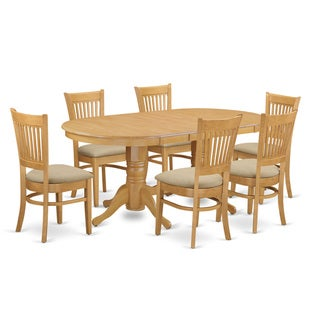 East West Furniture Oak-finish Rubberwood Dining Table With Leaf and 6 Chairs (Traditional/Modern and Contemporary)