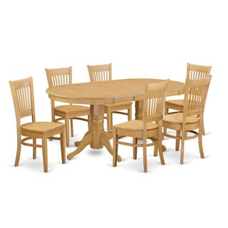 Oak-finish Rubberwood Dining Table With Leaf and 6 Chairs