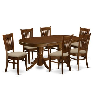 Vancouver Espresso Rubberwood 7-piece Dining Room Set