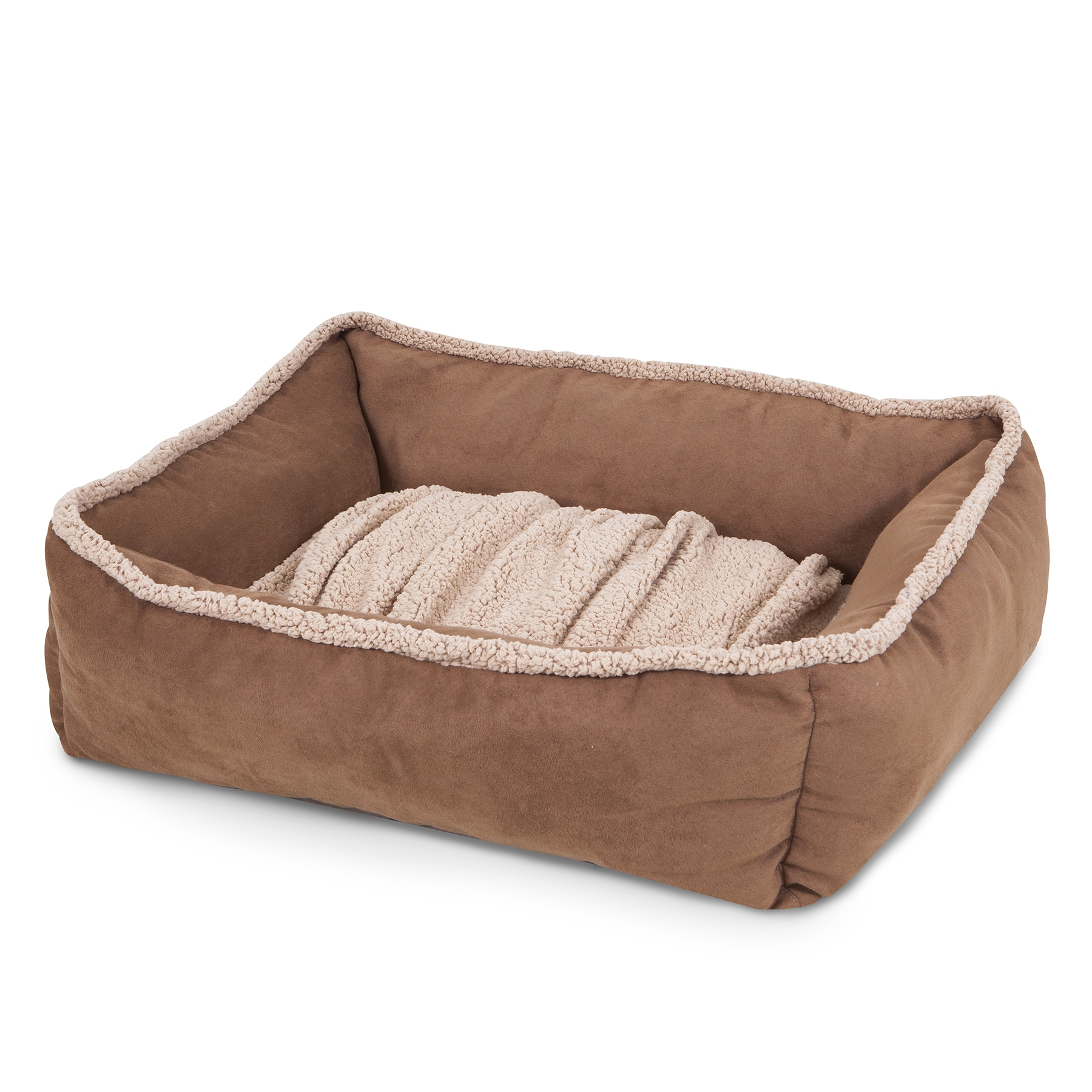 Aspen Pet Shearling Lounger with Dig N Burrow Dog Bed (La...