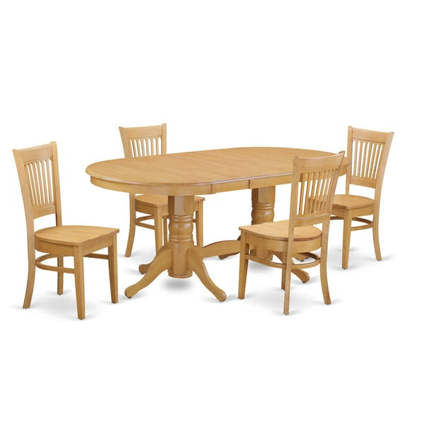 Vancouver Vanc5 Oak Rubberwood Dining Table With Leaf And 4 Chairs