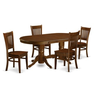 Espresso Finish Rubberwood Dining Table with 4 Dining Chairs