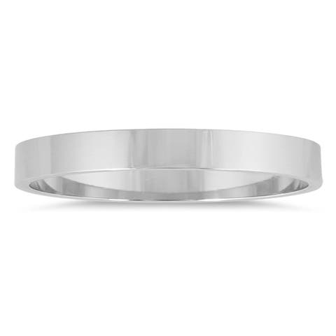 Marquee Jewels 14k White Gold 2-millimeter Flat Wedding Band