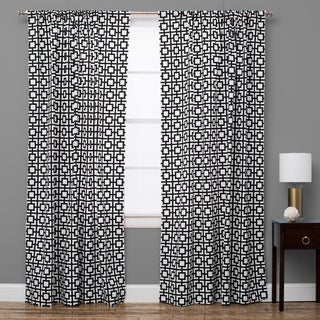 Geo Black and White Cotton Curtain Panel