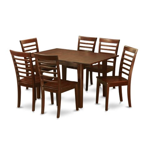 Mahogany Finish Rubberwood Dining Table with 6 Dining Chairs