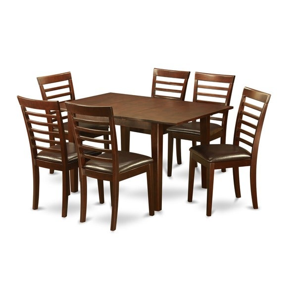 Shop Mahogany Finish Rubberwood Dining Table With 6 Dining