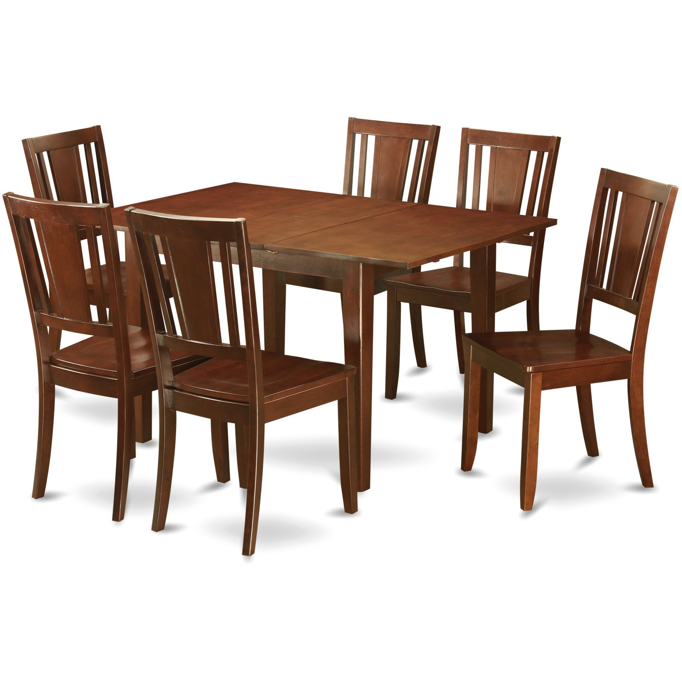 Awe Inspiring East West Furniture Picasso Mahogany Rubberwood Dinette Table With 6 Dining Chairs Gmtry Best Dining Table And Chair Ideas Images Gmtryco