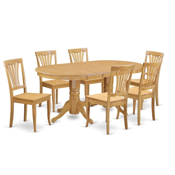 oak 7 pc dining room set oval table with leaf and 6 dining room chairs