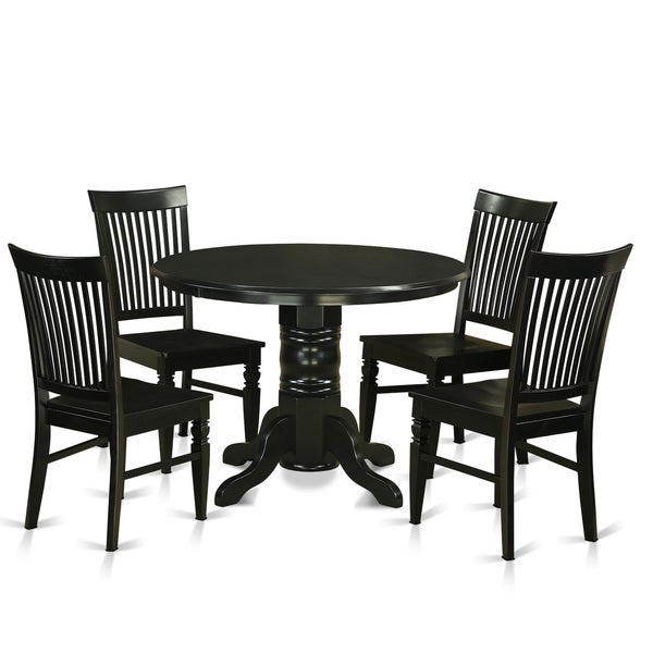 Shwe5 w rubberwood 5 piece small kitchen table set free for Kitchen set 008 82