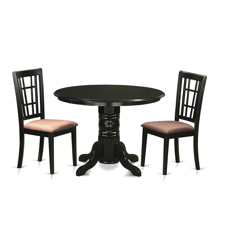 SHNI3-BLK 3-piece Kitchen Table Set (Microfiber), Black, ...