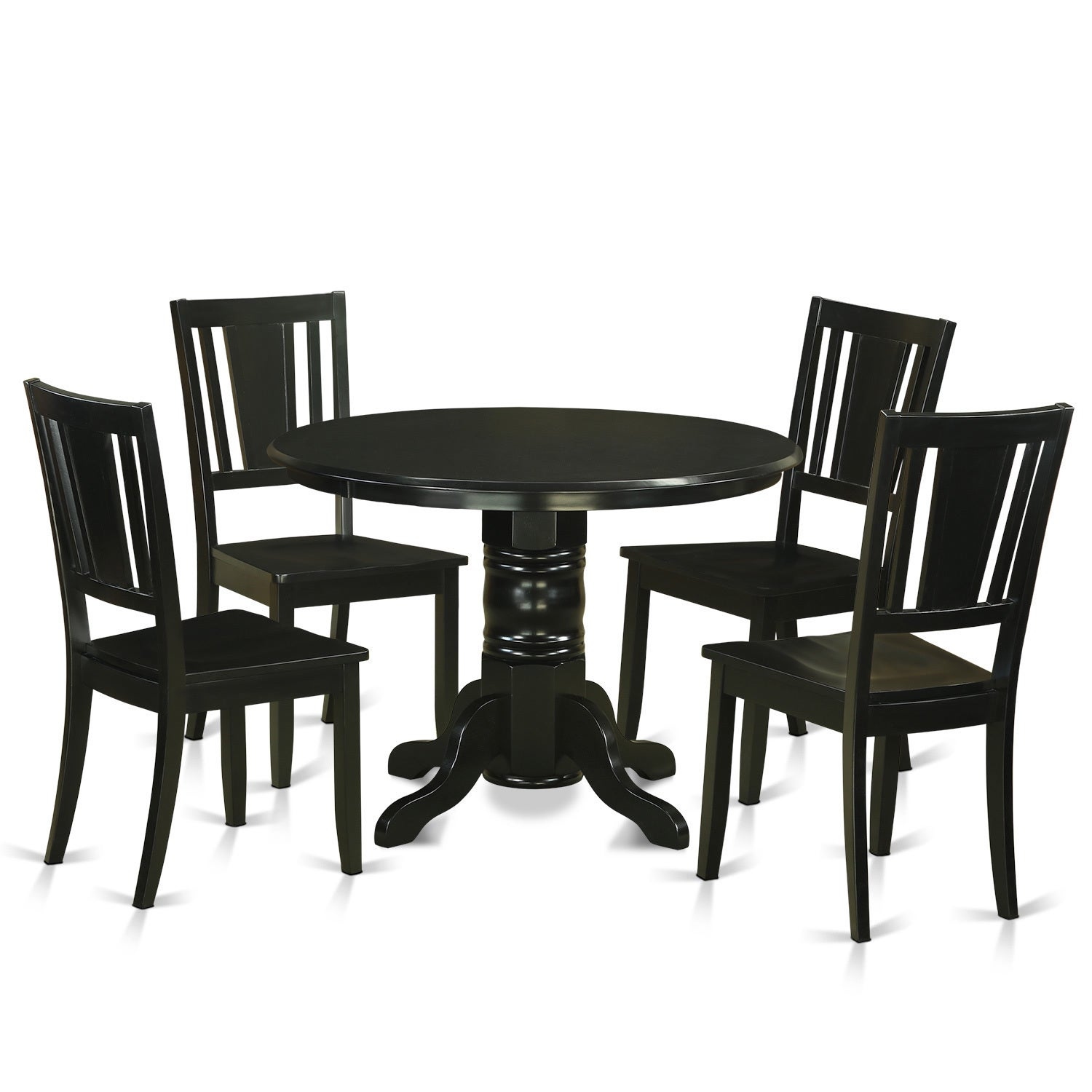SHDU5-BLK 5-piece Kitchen Nook Dining Set (Wood Seat), Bl...