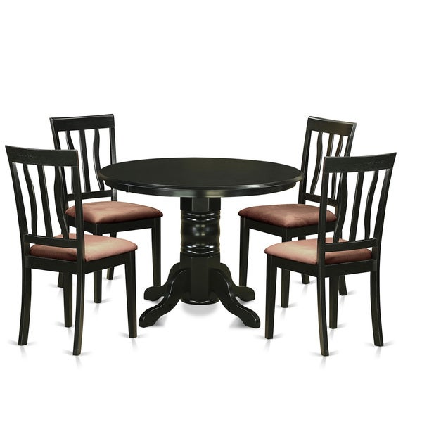 blk 5 piece dining table set dinette table and 4 kitchen dining chairs