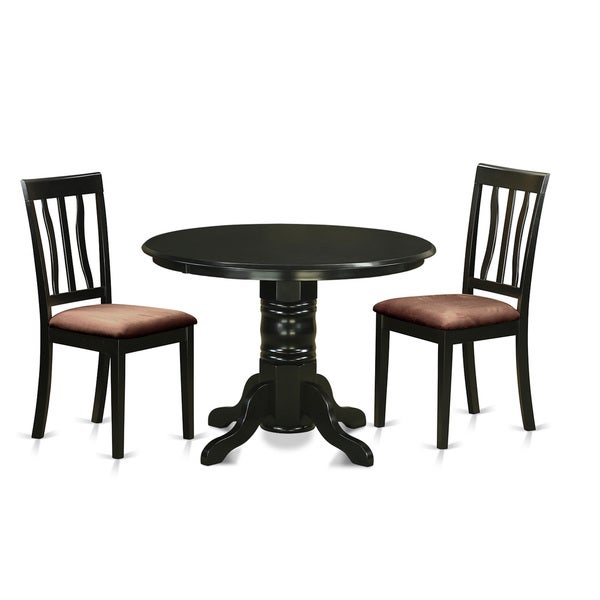 Black And Cherry Round Table And Two Dinette Chair 3 Piece: Shop SHAN3-BLK-C Black Rubberwood 3-piece Dinette Table