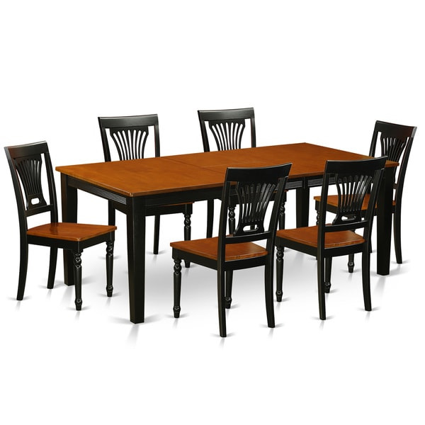 East West Furniture Quincy Rubberwood 7 Piece Dining Room Set