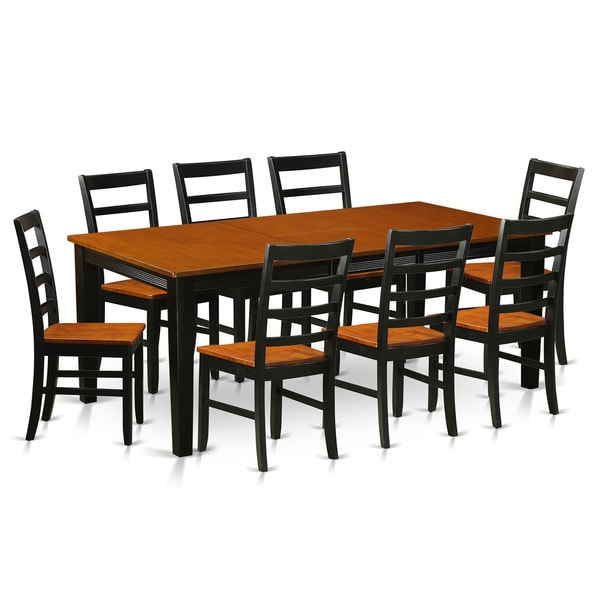 9 Piece Solid Wood Dining Set With Table And 8 Chairs: QUPF9-BCH Black/Cherry Rubberwood Dining Table With 8
