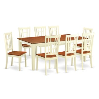 QUNI9-WHI Cherry/Off-white Rubberwood Kitchen Dining Table and 8 Chairs (Pack of 9)