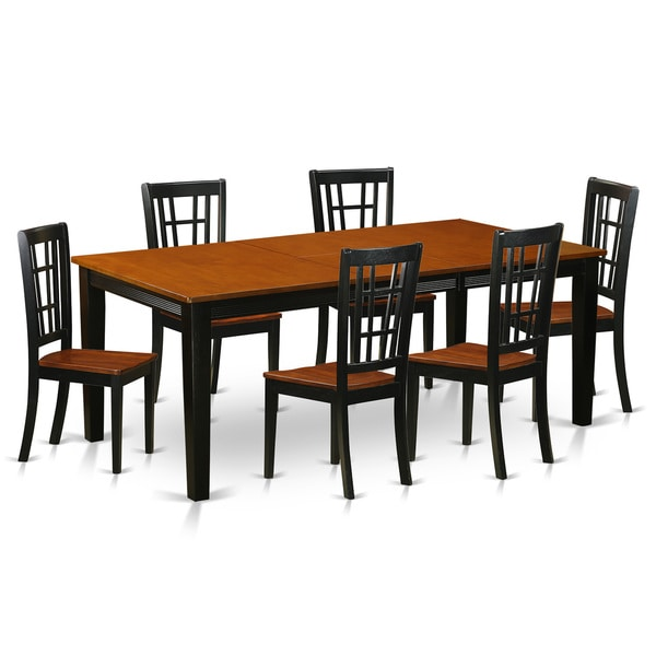 Shop QUNI7-BCH Black/Cherry Rubberwood Dining Table With 6