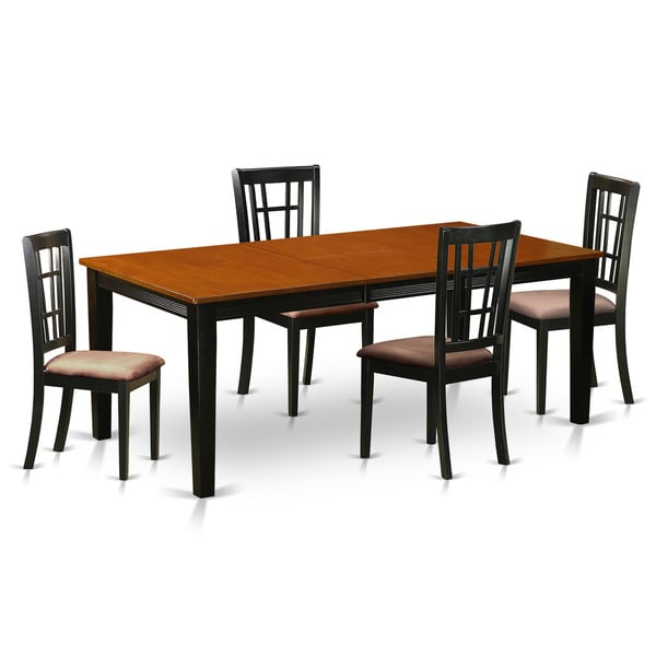 Shop QUNI5-BCH Black/Cherry Rubberwood Dining Table With 4