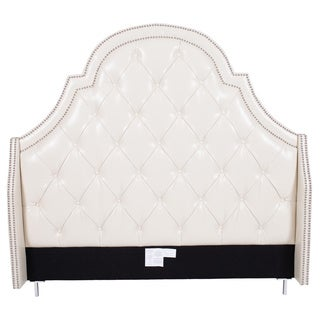 Chic Home Napoleon Cream Bonded Leather, Wood Button-tufted with Silver Nailhead Trim Headboard