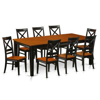Black/Brown/Cherry Finish Rubberwood Dining Table with 8 Dining Chairs