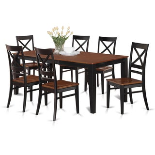 QUIN7-W Black/Cream/Cherry Rubberwood Dining Table and 6 Kitchen Chairs (Pack of 7)