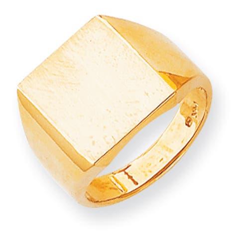 Versil 14k Gold Men's Brushed and Polished Signet Ring