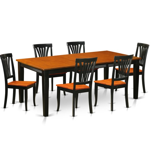 Solid Wood Dining Room Table Sets: Shop QUAV7-BCH Solid Wood 7-piece Dining Set Dining Room