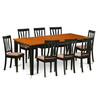 QUAN9-BCH Black/Cherry Rubberwood Dining Table with 8 Chairs