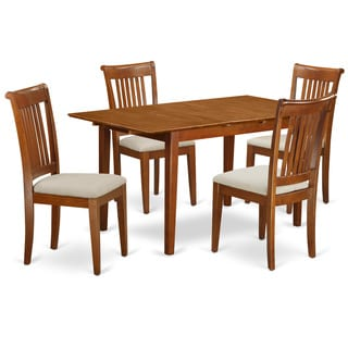 PSPO5-SBR 5-piece Small Kitchen Table Set With Leaf and 4 Chairs