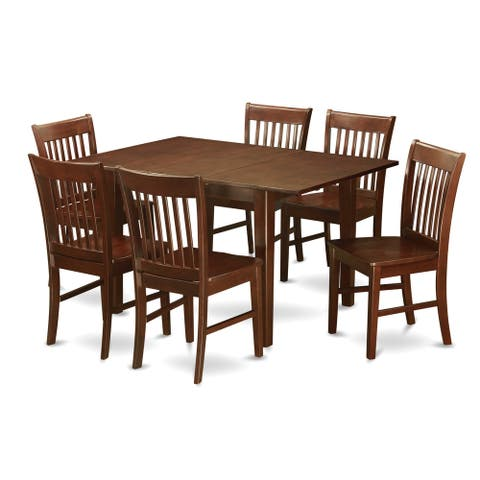 PSNO7-MAH 7-piece Rubberwood Mahogany Kitchen Dinette Set