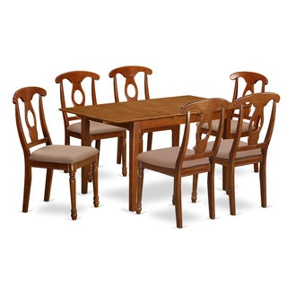 PSNA7-SBR Natural Rubberwood Dinette Table with Leaf and 6 Kitchen Chairs (Pack of 7)