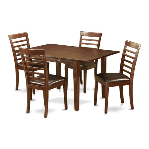 PSML5 Mohagany Finish Rubberwood Kitchen Nook Dining Set with 5 Chairs