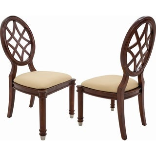 Shermag Oxford Beige Cherry Wood Vintage Transitional Uphholstered Seat Chairs (Set of 2)