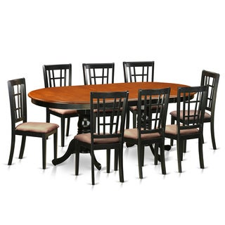 9-piece Black/Cherry Rubberwood Dining Room Set