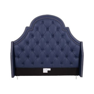 Chic Home Navy Blue Bonded Leather Silvertone Nailhead Trim Button-tufted Napoleon Headboard