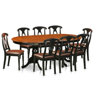PLKE9-BCH Black/Cherry Rubberwood Dining Table with 8 Chairs (Pack of 9)