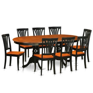 PLAV9-BCH Black and Cherry Rubberwood Dining Table with 8 Chairs (Pack of 9)