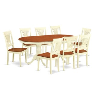 PLAI9-WHI 9-piece Dining Room Table Set