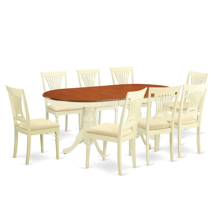 PLAI9 WHI 9 Piece Dining Room Table Set (Microfiber), Bei.
