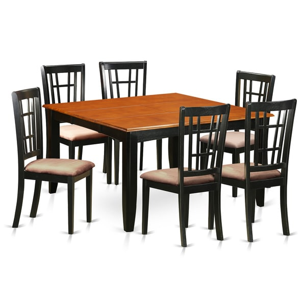 Black Cherry Finish Rubberwood Dining Table With 6 Chairs