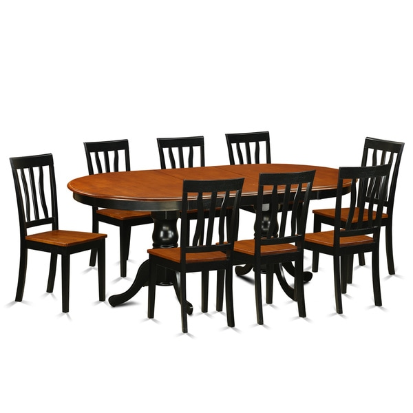 Shop PLAN9-BCH Black/Cherry Rubberwood Dining Table With 8