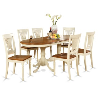Plainville PLAI7-WHI Cherry/Cream Rubberwood Dining Table with 6 Chairs (Pack of 7)