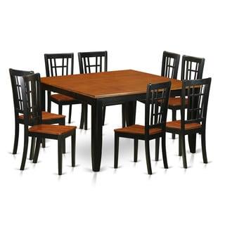 PFNI9-BCH Black/Brown Rubberwood 9-piece Dining Room Set