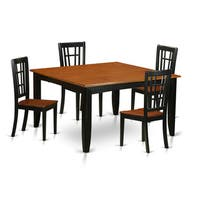 PFNI5-BCH Black/Cherry Rubberwood Dining Table and 4 Solid Chairs (Pack of 5)